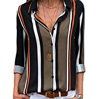 Aleumdr Womens Casual V Neck Striped Blouses Long Sleeve Button Down Shirts Collared Tops S-XXL