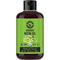 Organic Neem Oil (10.15 fl oz) USDA Certified, 100% Pure & Natural, Virgin Cold Pressed Neem Oil – Good for Dry Skin to…
