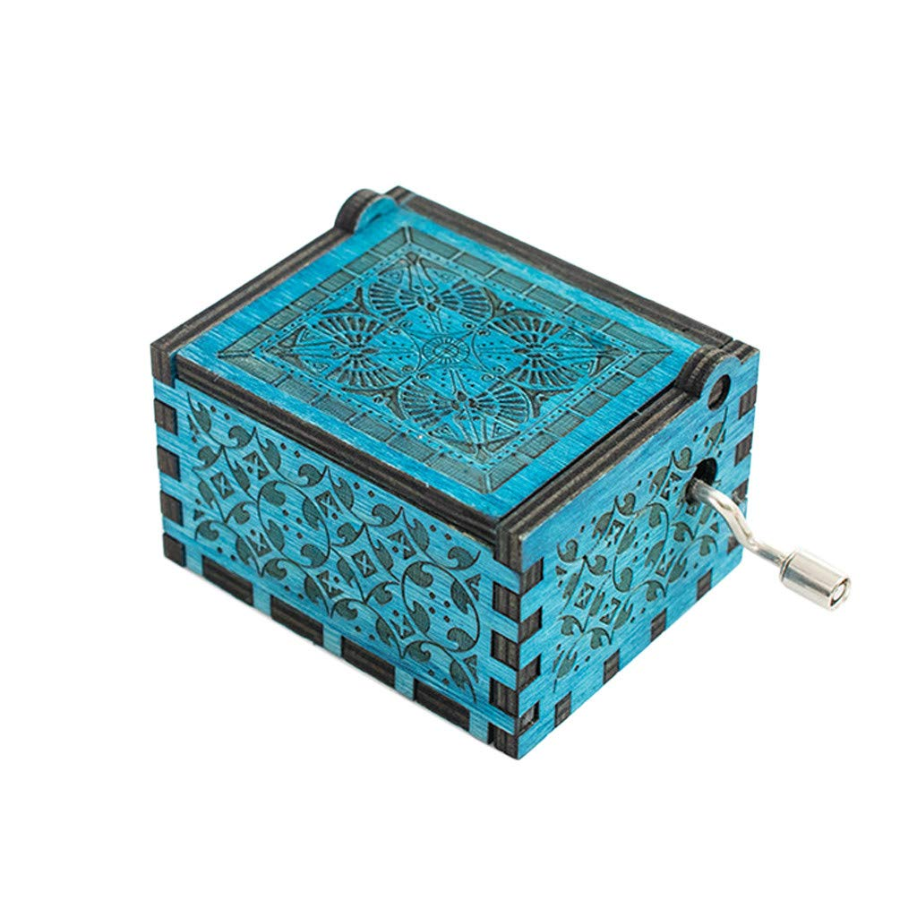 Sikye Music Storage Handmade Classical Wooden Music Box Creative Wood Crafts Best Gifts for Kids (Blue)