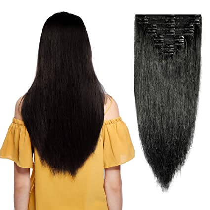 8aae72a71d Double Weft 100% Remy Human Hair Clip in Extensions 10  039   039 ...