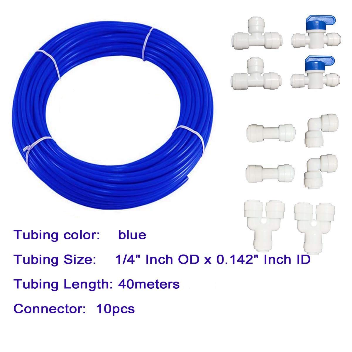 Hose Pipe for RO Water purifiers System,+quick connector 10pcs. tubing 10meters Malida 1//4 inch RO Water blue Tubing