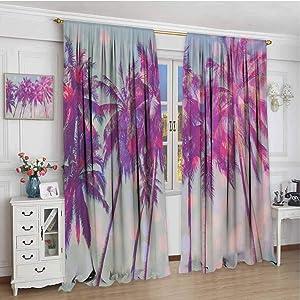 Decor Curtains W84 x L108 Inch,Rod Pocket Curtain Panels for Bedroom & Kitchen,Nature,Palm Trees Hawaiian Tropic Seashore Beach Californian Miami Sunbeams Image,Fuchsia Purple Green