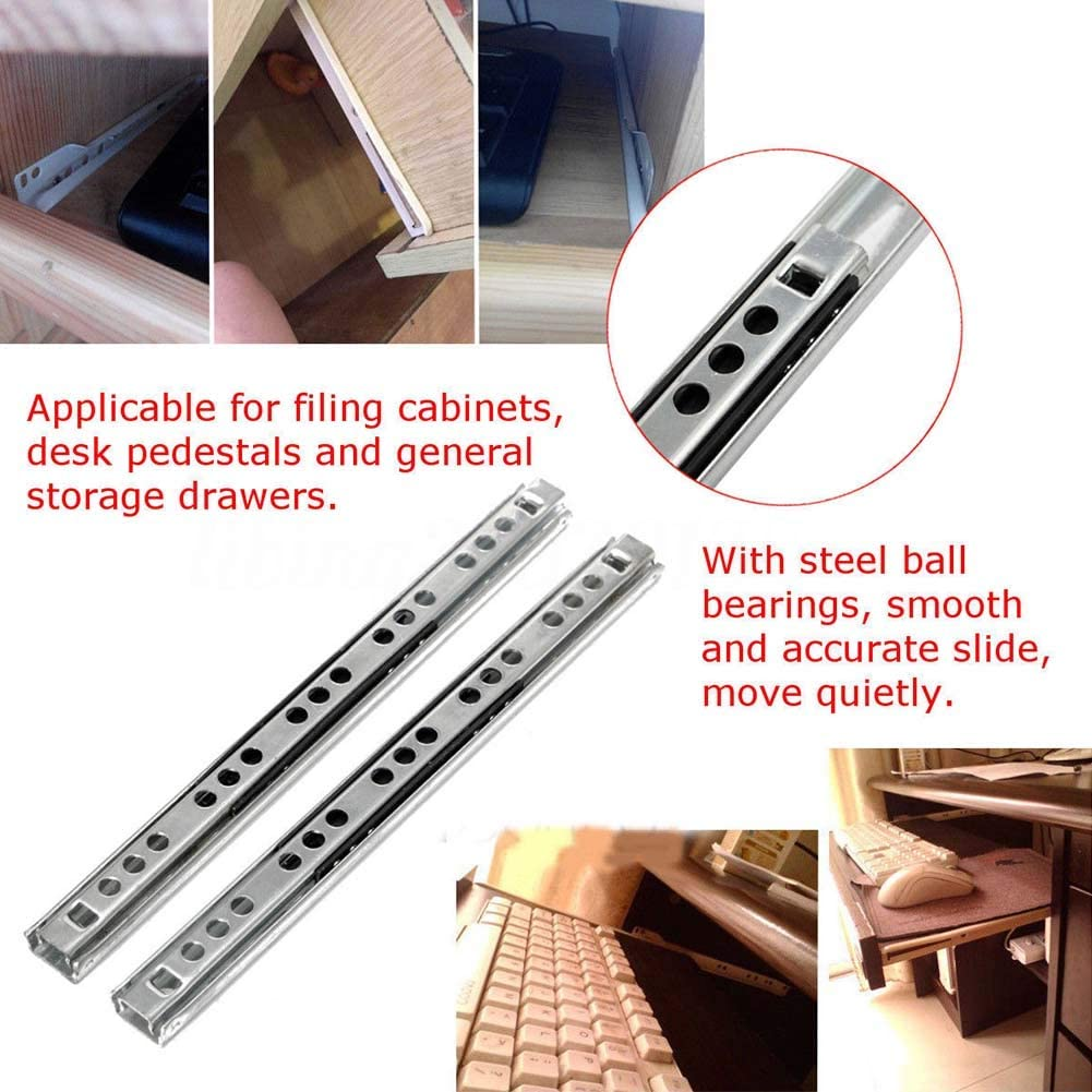 EMVANV Micro Ball Guide Two Sections 17 Wide Steel Ball Two Fold Ball Bearing Drawer Slide Stainless Steel Full Extension Drawer Slides