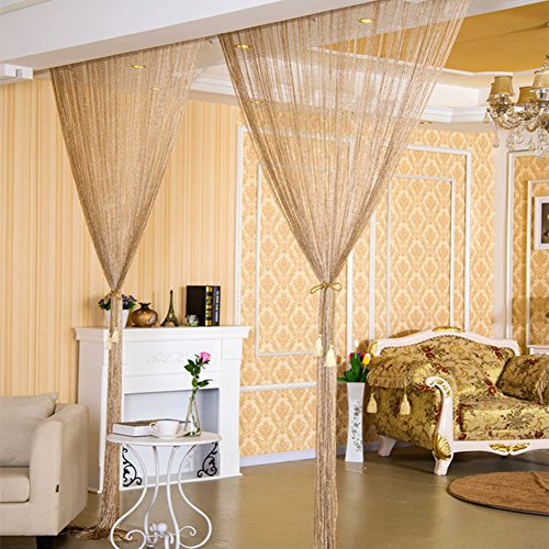 Echodo 2M Door String Curtain Wall Panel Fringe Room Divider Curtain Cute Strip Tassel Screen Champagne Ribbon String Curtains for Doorway
