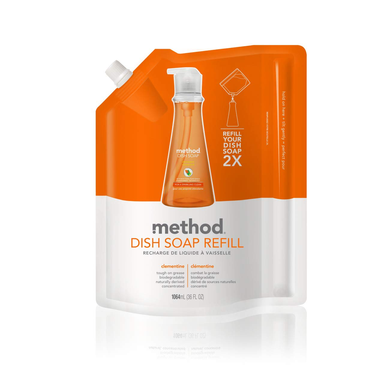 Method Dish Soap Refill, Clementine, 36 Ounce (6 Count)