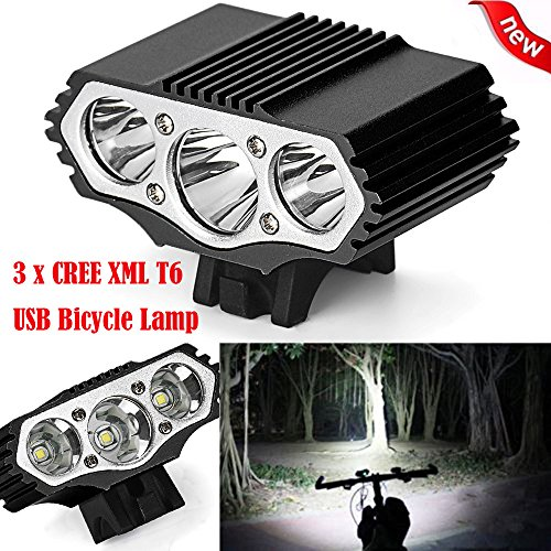 BIYATE 12000 Lumens Bike Lights - 3 x XML T6 LED Lighting and Safety Pack of Super Bright Front Bicycle Lights, Tail Lights,Bike Headlight,Lighting Distance 300m