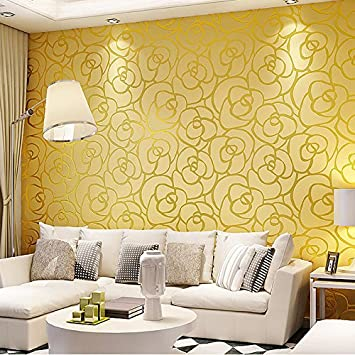 Gold Yellow Ketian High Grade Rose Flower Pattern Thick Pvc Flocking Deep Embossed Textured Living Room Bedroom Wallpaper Roll Gold Yellow Color 0 53m 1 73 W X 10m 32 8 L 5 3m2 57 Sq Ft Amazon In Home Improvement