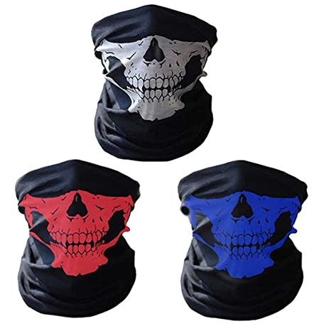 CBValley 3pcs Multifonction Tour de Cou Cagoule Microfibre Crâne Chapeaux  Tube Masque Visage (Blanc  c3ba9e43508