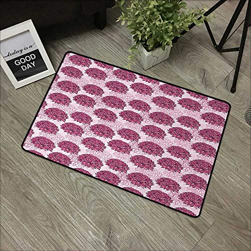 Door mat W24 x L35 INCH Pink,Hand Drawn Graphic Design Chrysanthemums Flourishing Flowers Natural Retro Art,Light Pink Pink Easy to Clean, no Deformation, no Fading Non-Slip Door Mat Carpet