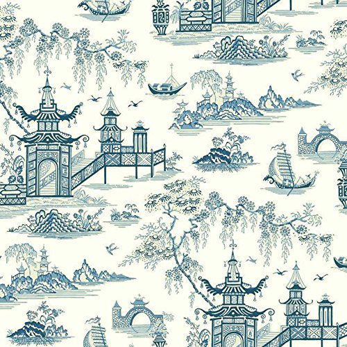 (York Wallcoverings WC7553 Waverly Classics II Peaceful Temple Removable Wallpaper Blues)