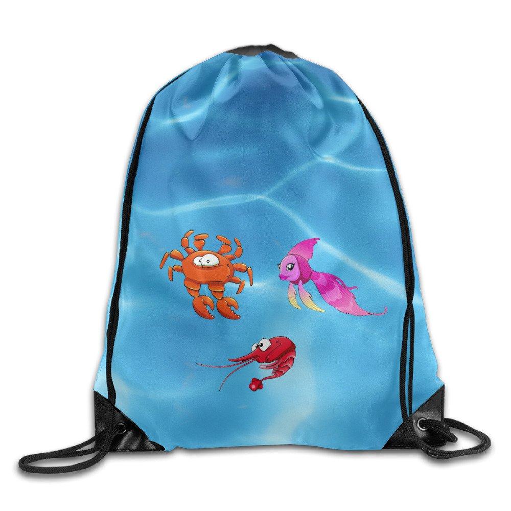 ジムバッグ魚ShrimpとCrabクールドローストリングバックパックバッグバッグレディースメンズ B074VVNCRF
