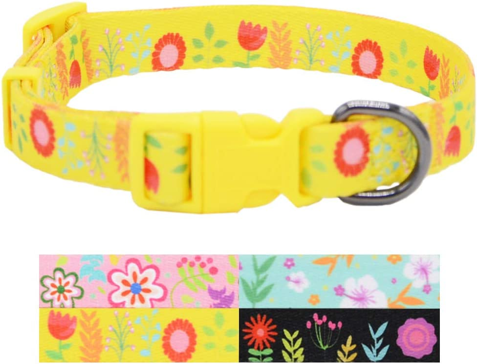 5 Sizes Available Yellow Floral Dog Collar Medium Extra Small Extra Large Large Girl Dog Collar Gift for Dog Sunflower Fall Dog Collar Small