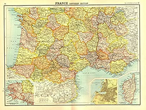 Map Of France South.Amazon Com France South Brittany Inset Marseilles Plan