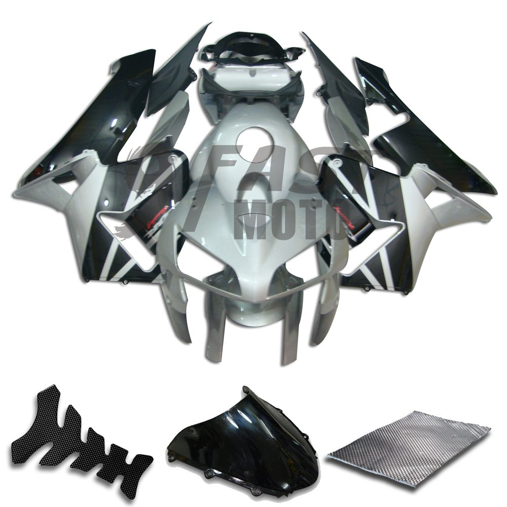 9FastMoto Fairings for honda 2005 2006 CBR600RR F5 05 06 CBR600 RR F5 Motorcycle Fairing Kit ABS Injection Set Sportbike Cowls Panels (Silver & Black) H0369