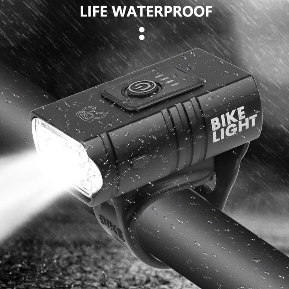 shenruifa bicicleta luz delantera USB recargable Bicicletas faro 2 LED IPX5 impermeable 6 modos de luz bicicleta de monta/ña luces ciclismo seguridad advertencia luz
