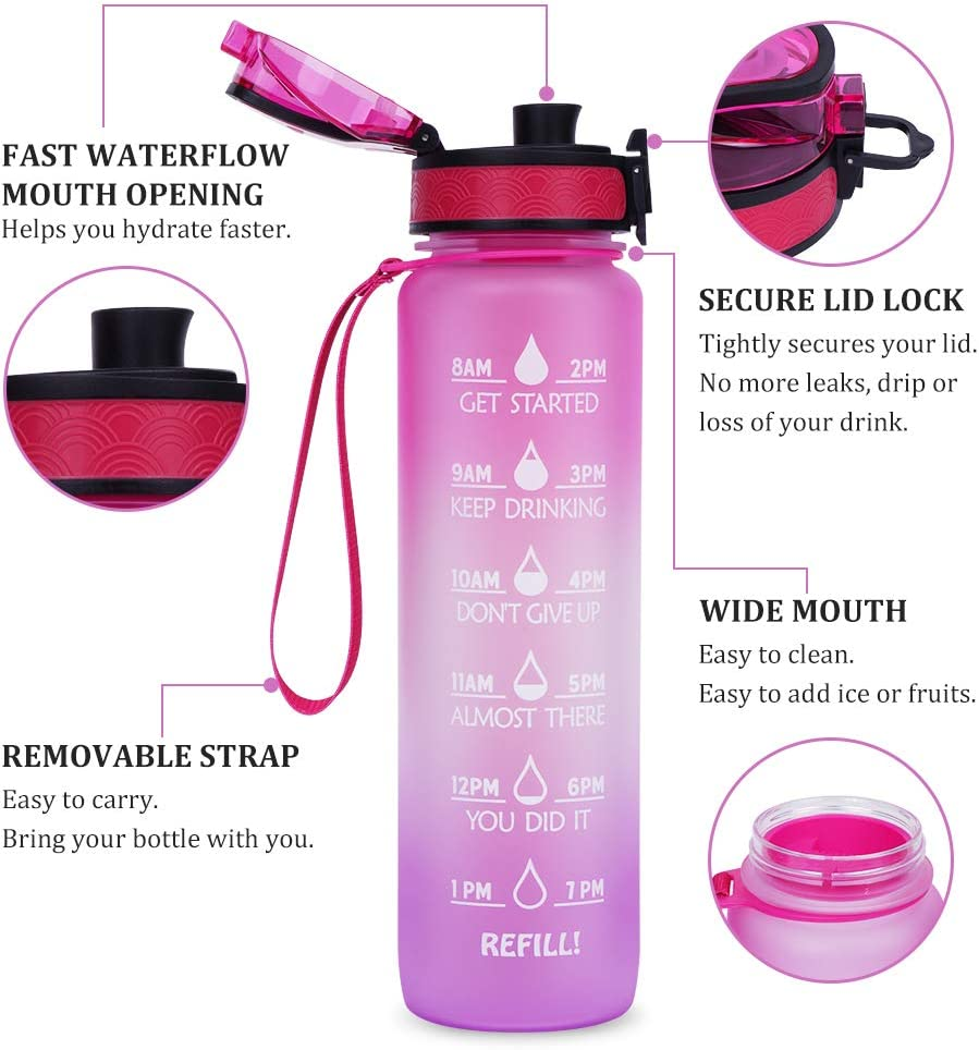 32oz Water Bottle with Time Marker and BPA Free Motivation Drinking Water Bottles for Fitness Gym Camping Outdoor Sports Men Women Adults