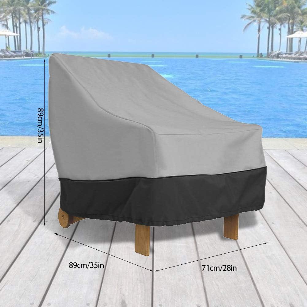 Wifehelper Cubiertas de Muebles de jard/ín al Aire Libre Cubierta de Muebles de Tela Oxford Impermeable para Cubierta de sof/á de Silla de Patio al Aire Libre Negro + Gris