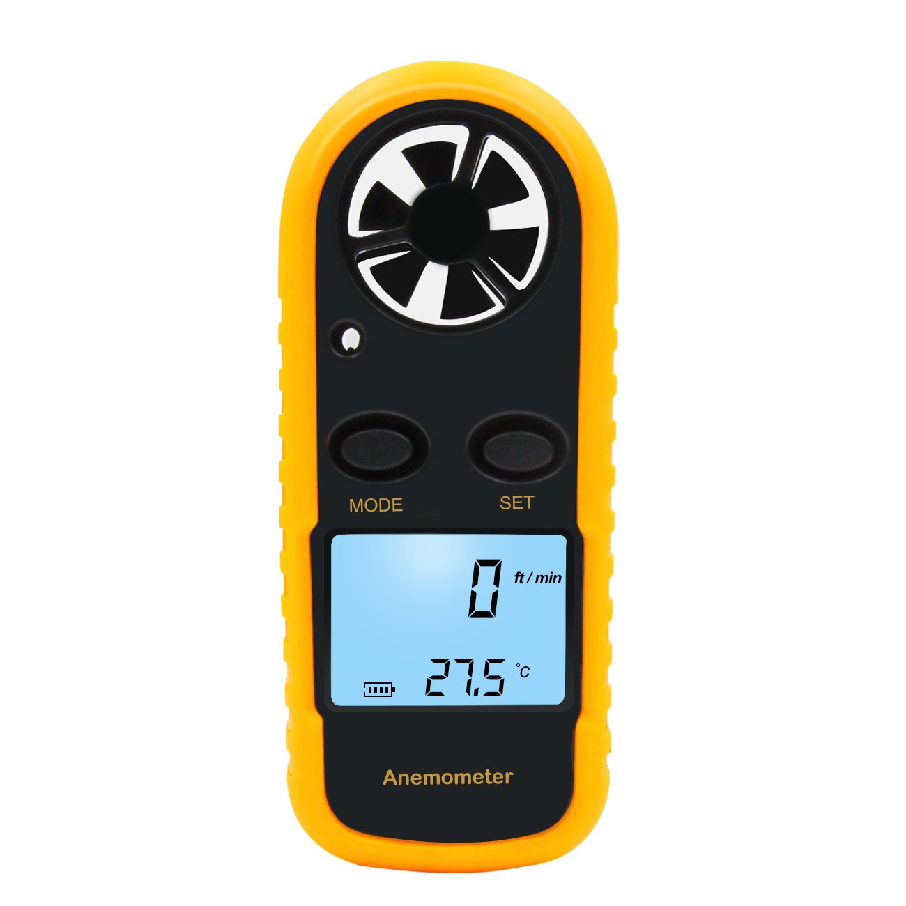 Petcaree Anemometer Sokos Digital LCD Wind Speed / Air Flow Thermometer with Backlight, Mini Size