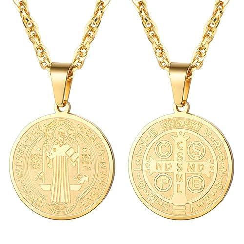 50c66a80d9e PROSTEEL Chapado en Oro Collar Medalla San Benito Tono Oro Regalo para  Hombre  Amazon.es  Joyería