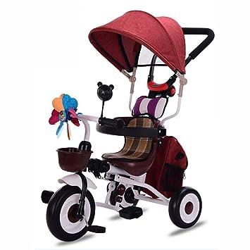 Triciclos niños Bicicleta 1-7 años Carro de Carro de bebé Niño Bicicleta Trike Niños 3 Ruedas (Color : Vino Rojo) : Amazon.es: Juguetes y juegos
