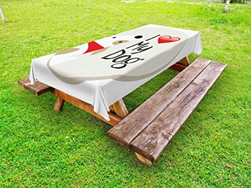 Lunarable Dog Lover Outdoor Tablecloth, I Love My Dog Typeset Typescript Veterinary Medical Font Abstract, Decorative Washable Picnic Table Cloth, 58 X 104 inches, Coconut White Red Black by Lunarable