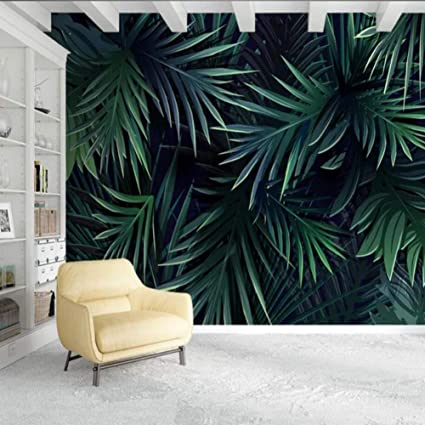 Amazon Com Bizhihnk 3d Tropical Palm Leaf Wallpaper Wall