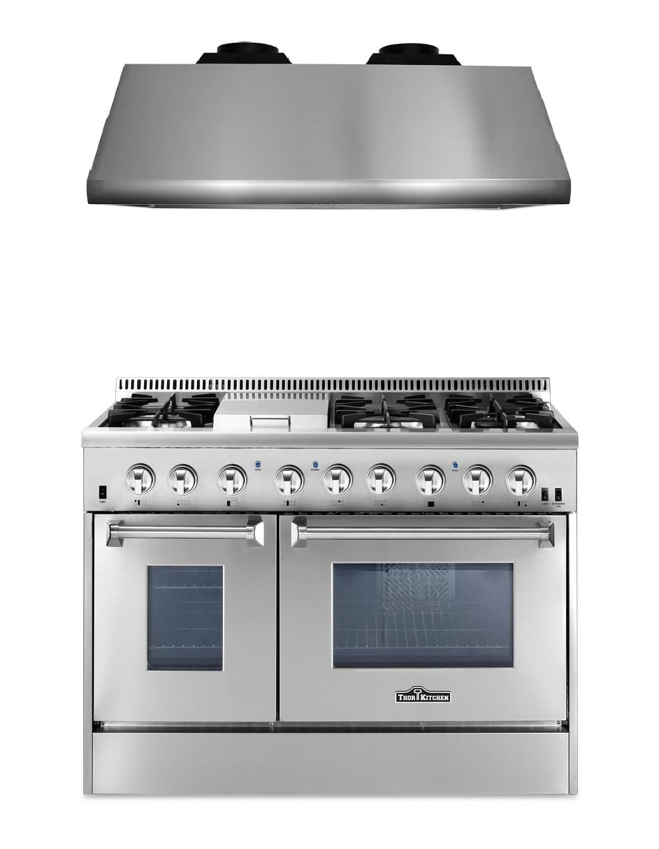 "Thor Kitchen 2-Piece Kitchen Package with 48"" Dual Fuel Range 6 Burner With Double Oven and Griddle HRD4803U, and 48"" Under Cabinet Range Hood HRH4805U"