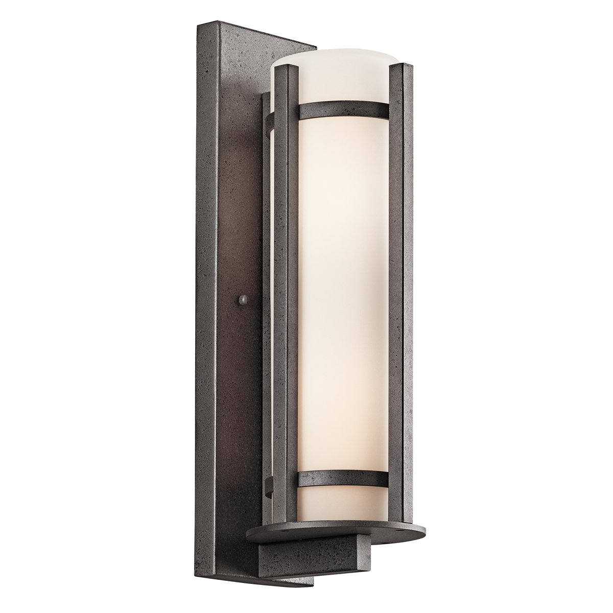 Kichler brushed nickel wall mt 1lt incandescent kichler brushed nickel - Kichler Lighting 49119avi Camden 11 Inch High Light Outdoor Wall Lantern Anvil Iron With Opal Etched Glass Wall Porch Lights Amazon Com
