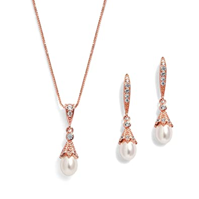 742c0b2fa Amazon.com: Mariell Rose Gold Wedding Necklace & Earrings Jewelry Set with  Freshwater Pearl for Bridesmaids & Brides: Jewelry