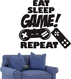 Gaming Wall Decals Stickers Boys Bedroom Decor Eat Sleep Game Repeat Vinyl Wall Sticker Peel and Stick Decal for Home Room Decoration