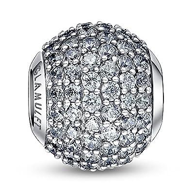Glamulet 925 Sterling Silver Birthstone Paved Crystal Bead Charm Fits Pandora Bracelet from Glamulet