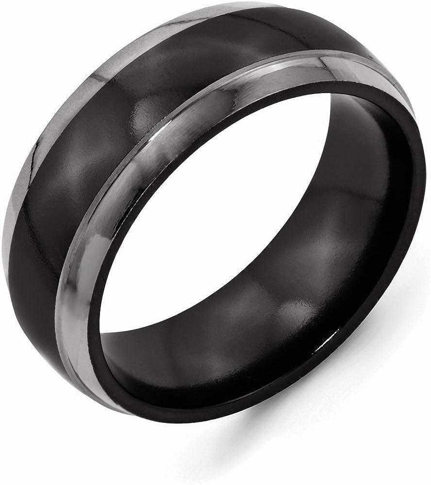 Best Quality Free Gift Box Titanium Black Ti 8mm Polished Band