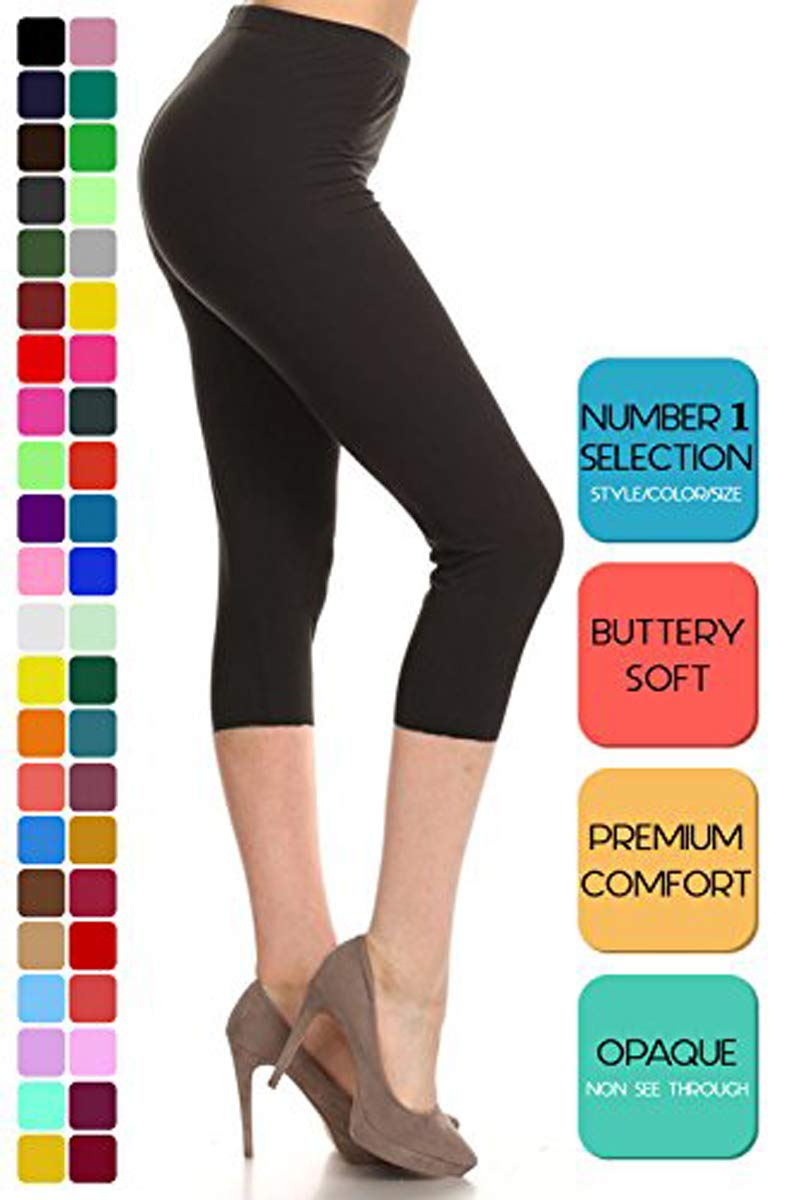 Leggings Depot Women's Popular Basic Capri Cropped Regular and Plus Solid High Waist Leggings (Plus (Size 12-24), Black)
