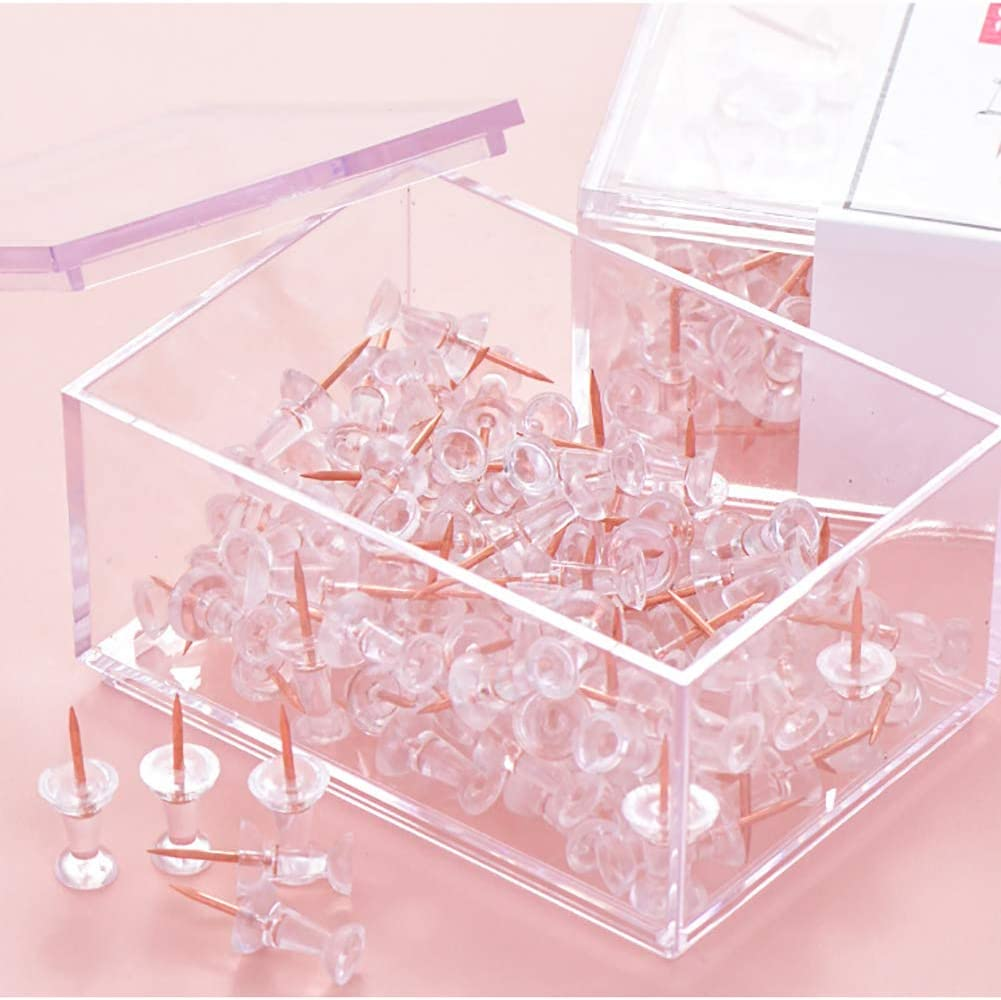 SF ITEM Binder Clips Paper Clamps 25 Pcs Rose Gold Small Ticket Clips with Acrylic Box for Office,School and Home Supplies