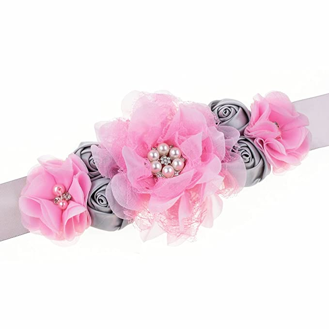 RoyaLily Handmade Flower Sash Belt for Maternity Pregnancy Baby Shower Wedding Party (#Grey Pink