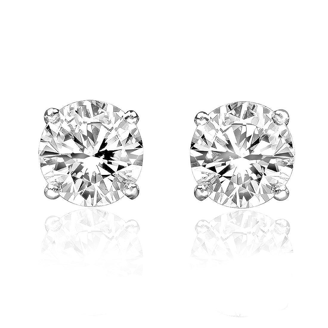 1//2ct Genuine Round Diamond 14k White Gold Stud Earrings Screw Backs Samaya Jewels