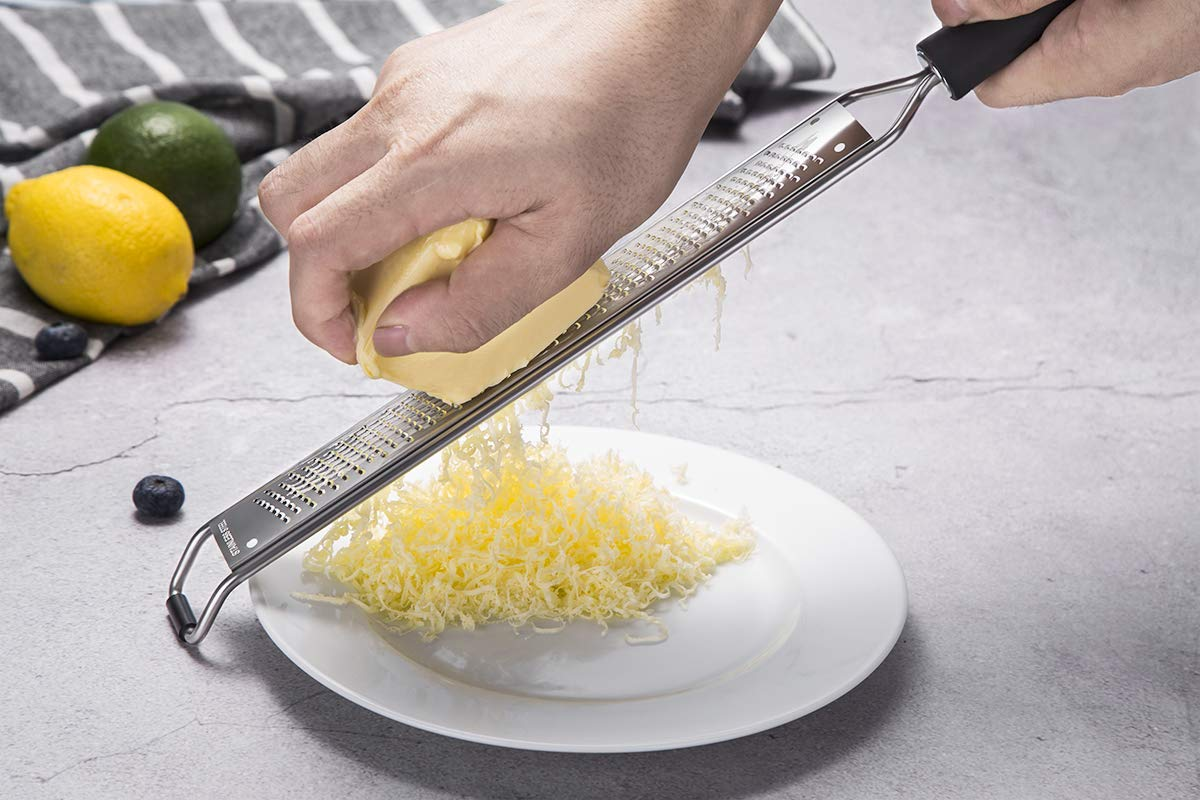 Long Ergonomic Handle With Silicone Base ZESTER-15 Ginger and Garlic with Plastic Cover Premium Stainless Steel Grater for Cheese Citrus Lemon QUELLANCE Zester