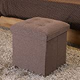 Do4U High-end fabric Folding Organizer Storage Ottoman Bench Footrest Stool Coffee Table Cube, Camping Fishing Stool, Quick and Easy Assembly, Perfect for Child (15″x15″x15″, Sienna)
