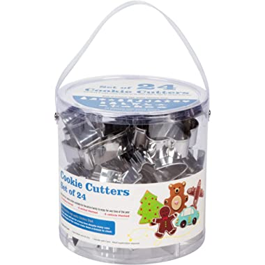 Cookie Cutter 24 pc Assorted Set - Storage Basket Included - Premium Stainless Steel - 6 Vehicle, 6 Animal, 6 All Season, 6 Holiday themed Cutters