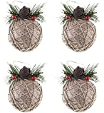 Shatterproof Christmas Tree Ornaments with Pinecones and Berries by Clever Creations | Large Gold and Jute Twine 80mm Christmas Decor | 5 Piece Set Perfect for Christmas Decorations