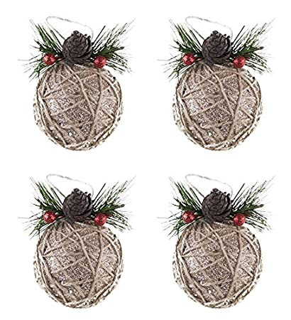 shatterproof christmas tree ornaments with pinecones and berries by clever creations large gold and jute - Decorating Large Pine Cones For Christmas