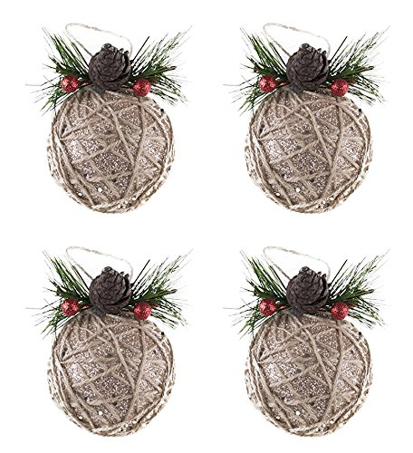 Clever Creations Shatterproof Christmas Tree Ornaments with Pinecones and Berries Large Gold and Jute Twine 80mm Christmas Decor | 5 Piece Set Perfect for Christmas Decorations