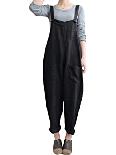 fcf503e5584 VONDA Women s Strappy Jumpsuits Overalls Baggy Harem Wide Leg Dungarees  Rompers