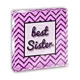 Best Sister on a Chevron Pattern Acrylic Office Mini Desk Plaque Ornament Paperweight