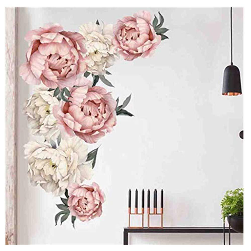 XLGX 3D Fleur de pivoine Fleur Stickers Muraux Pvc Salon Chambre Fond D/écoration Mural Art Stickers D/écor /À La Maison Autocollant Multicolor