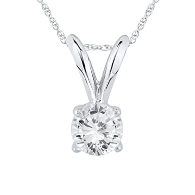 0a9221ab6f51 AGS Certified 1 4 Carat Round Diamond Solitaire Pendant in 14K White Gold  (K-L