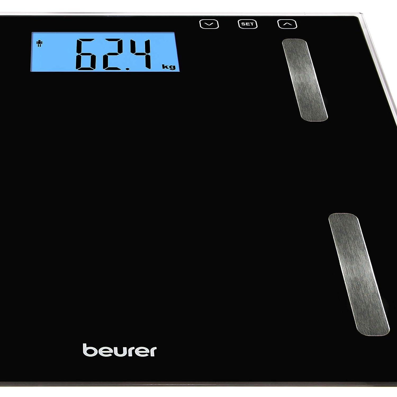 Beurer BF179 - Báscula digital diagnóstica con calculo IMC, de vidrio, pantalla LCD XXL, gran plataforma, 35 x 32.5 x 4.5 cm, 1.5 kg, color negro