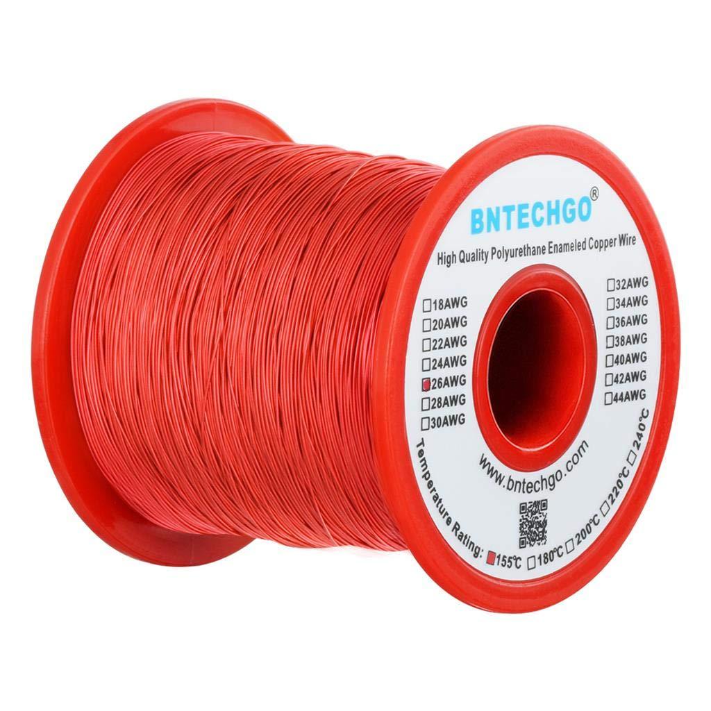 BNTECHGO 26 AWG cable magnético – alambre de cobre esmaltado – alambre de viento de imán esmaltado – 16 oz – 0, 0157 pulgadas de diámetro 1 bobina de bobina rojo temperatura nominal 155 grados C ampliamente util