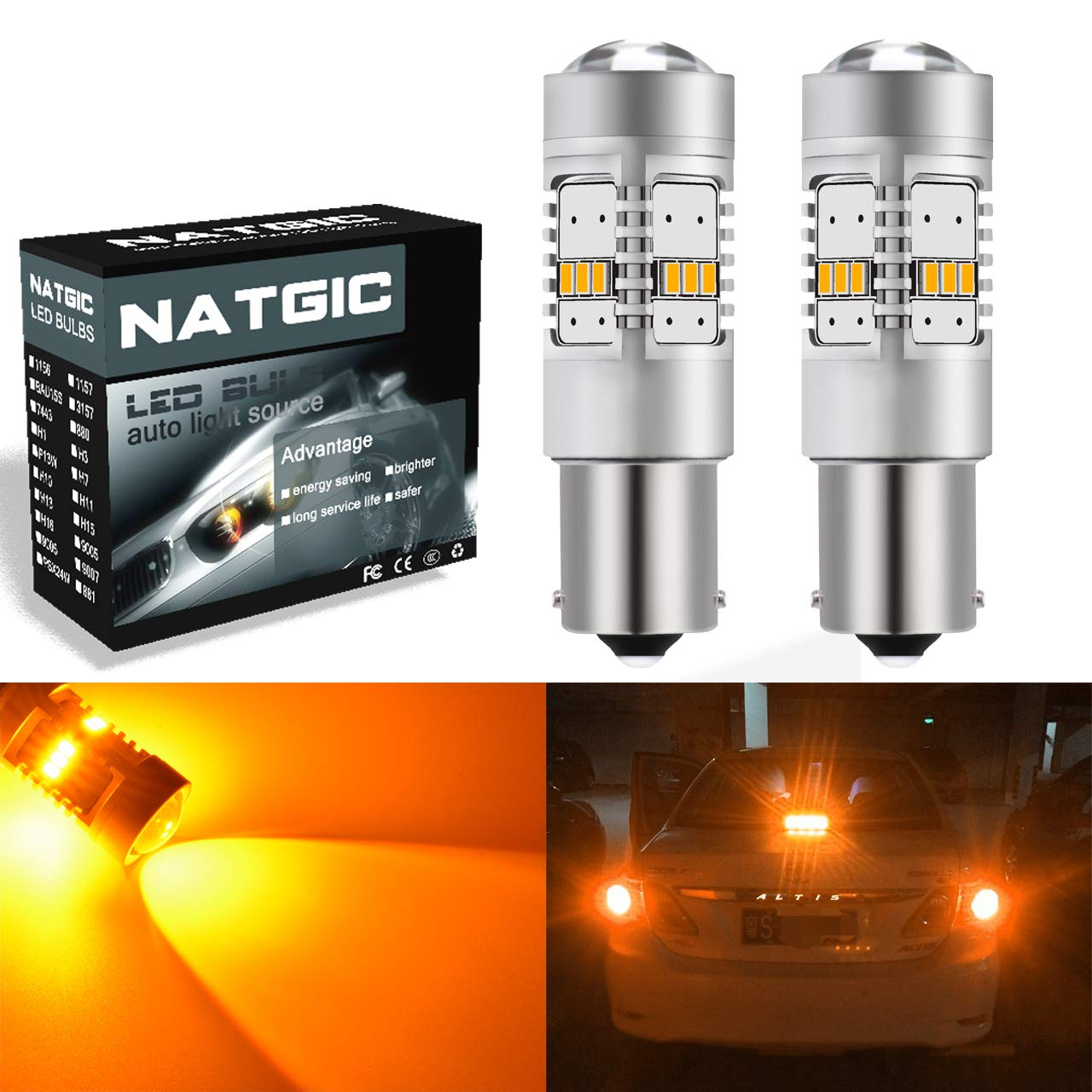 NGCAT 1156 BA15S Led Bulb 1800 Lumens 14 SMD 3020 CREE 1141 7506 LED Bulbs for Cars Turn Signal Bulbs Tail Brake Stop Lights, DC 10-16V Amber(2-Pack)