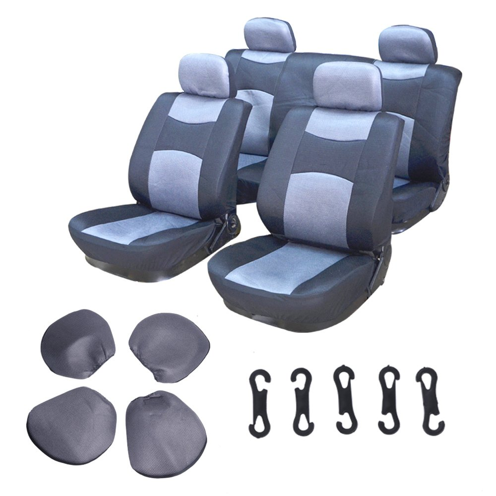 ECCPP Universal Car Seat Cover w/Headrest - 100% Breathable Mesh Cloth Stretchy Durable for Most Cars Trucks Vans(Gray/Black)